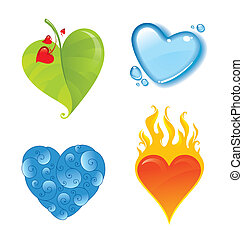 Four vector different valentines heart