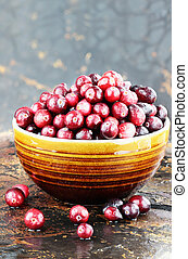 Fresh Cranberries - Freshly washed whole cranberries against...