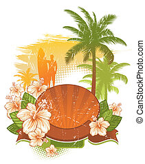 Vector frame & banner with tropical flowers & palms