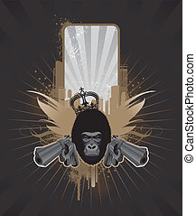 Vector frame for text with gorilla head and guns - Vector...