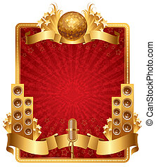 Vector ornate frame with golden musical objects