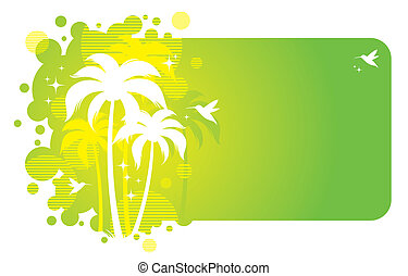Vector frame with tropical design
