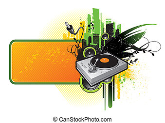 Frame with turntable - Grunge vector frame with turntable