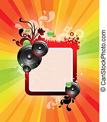 Abstract vector frame with loudspeakers and ornate floral...