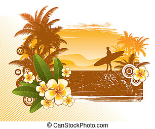 Frangipani flowers and surfer silhouette - vector illustration