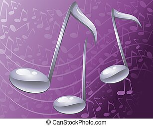 music - notes on a purple background