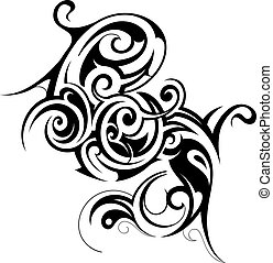 Tribal art - Decorative shape created in tribal art style