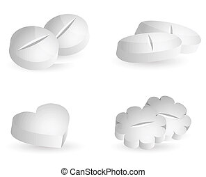 pills - Medicine pills, various shapes, white background