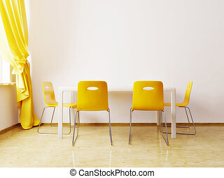 dining room - modern dining room with a yellow chairs