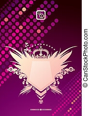 Glittering vector background and heraldic coat of arms -...