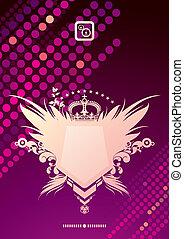 Glittering vector background & heraldic coat of arms