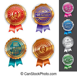 Vector Gold and silver quality seals