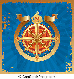 Golden compass rose on a grunge world map background