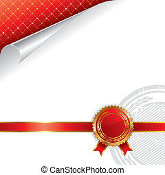 Golden and red royal design with seal of quality - vector...