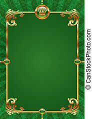 Green vector background with golden luxury frame