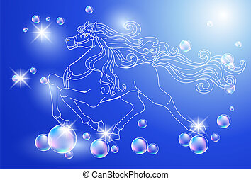 White horse and stars - Background with white horse and...