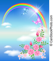 Rainbow and roses - Rainbow, clouds, roses and butterfly