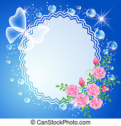Background with frame, roses and butterfly