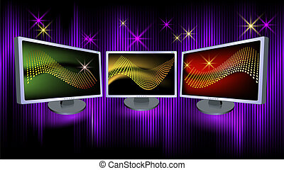 Monitors on a luminous  background