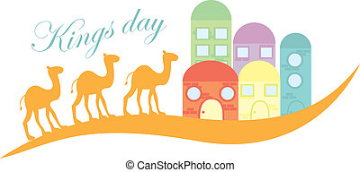 kings day with camels and houses isolated over white...