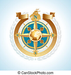 Vector golden compass rose with globe and ribbon