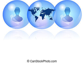 Blue persons in social network - Blue persons in social...