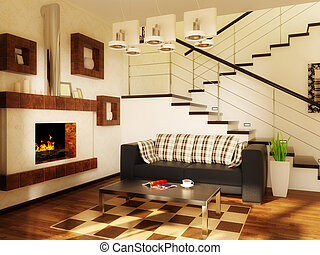 room - modern interior room with white wall and black sofa