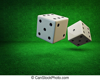 Rolling Dice on a green background isolated