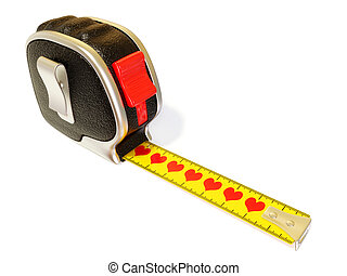 tape measure - conceptual tape measure with red heart...