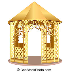 summerhouse with winding ornament with flower - illustration...