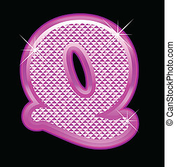 Letter Q with pink bling pattern