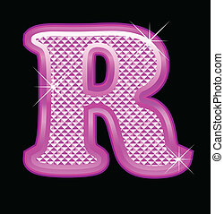 Letter R with pink bling pattern