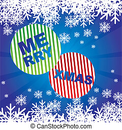 merry xmas with snowflakes over blue background. vector
