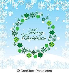 Advent wreath - green Advent wreath over snow sky. vector