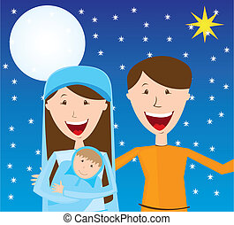 Virgin Mary, St Joseph and baby Jesus over night vector