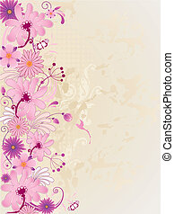 background with pink flowers - vector retro floral...