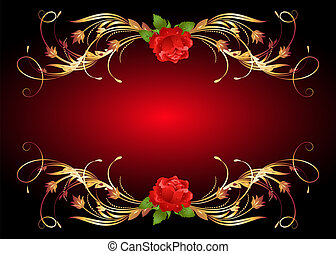 Golden frame wth rose - Red rose with golden ornament