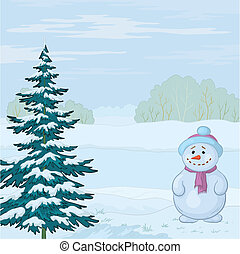Snowman and Christmas tree on the bank of the winter forest...