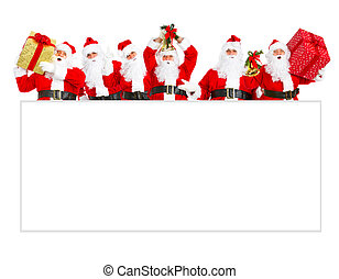 Santa Claus with poster. - Group of happy Santa Claus with...