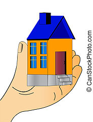 nice house keeps in hand and show - illustration nice house...
