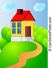 nice house on hillock with track - illustration nice house...