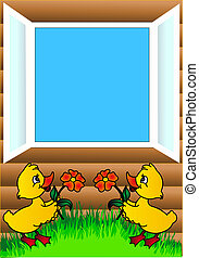 duckling flowers and open window - illustration duckling...