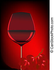 goblet blame and branch of grape - illustration goblet blame...