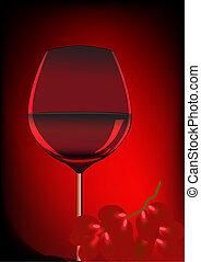 goblet blame and branch of grape - illustration goblet blame...