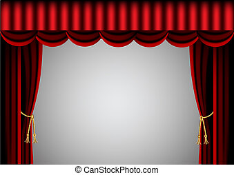 red curtain and scenic screen - illustration red curtain and...