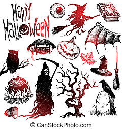 Halloween and horror hand drawn vector set