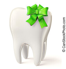 tooth - white tooth with green bow isolated