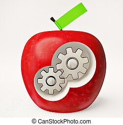 apple - red apple with steel gears inside
