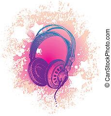 Vector hand drawn dj's headphones