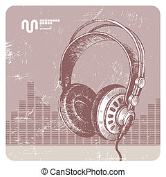 Hand drawn vector headphones
